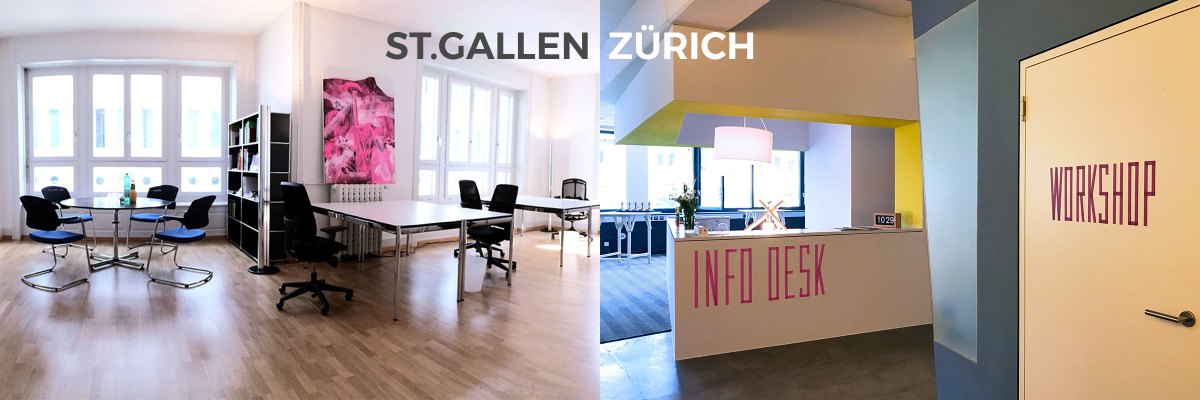Innenansichten CreativeSpace - Coworking Spaces in Zürich und St.Gallen